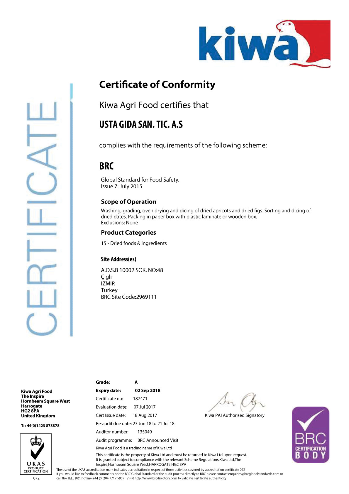 Certificate of Conformity - Usta Food Industry Agricultural