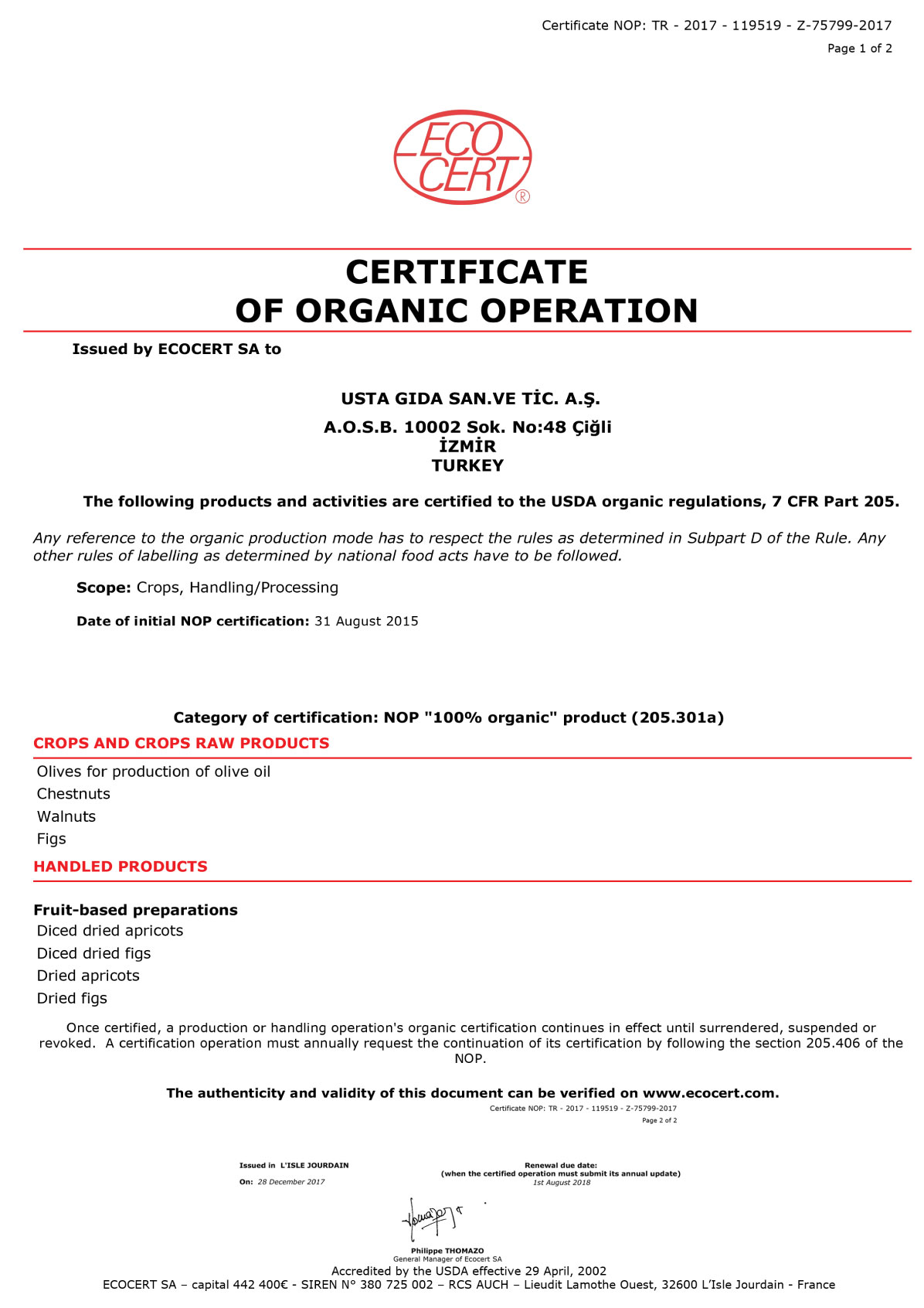 Certificate of Organic Operation - Usta Food Industry Agricultural