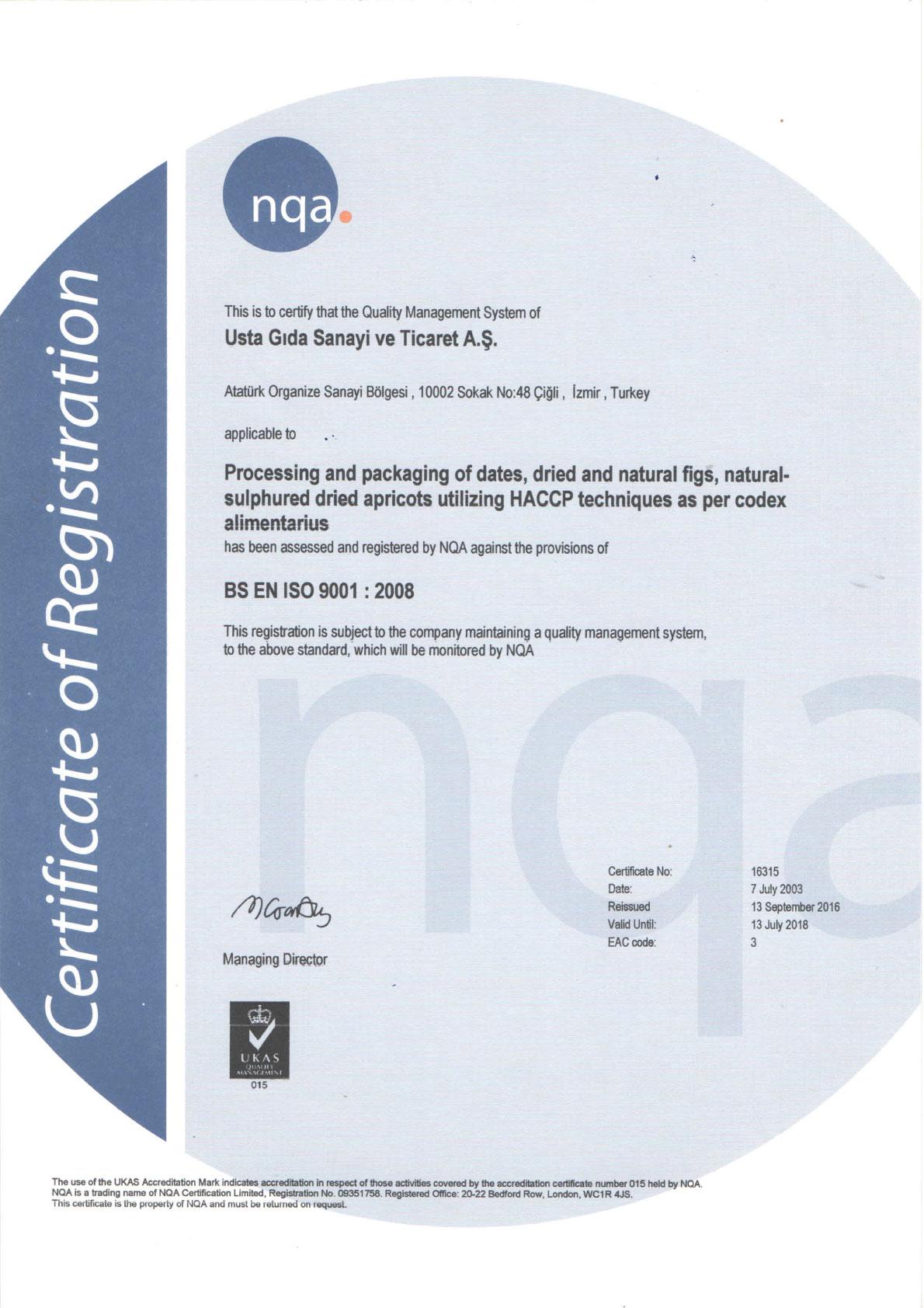 Certificate of Registration - Usta Food Industry Agricultural